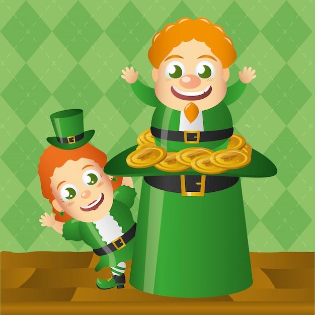 Irlandês dudne salidno de um chapéu verde, dia de são patrício Vetor grátis