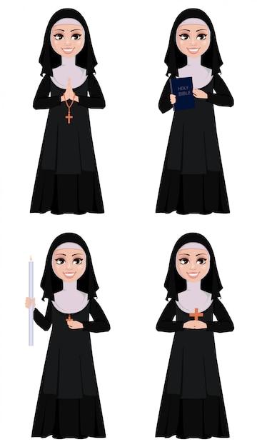 Irmã católica sorridente Vetor Premium