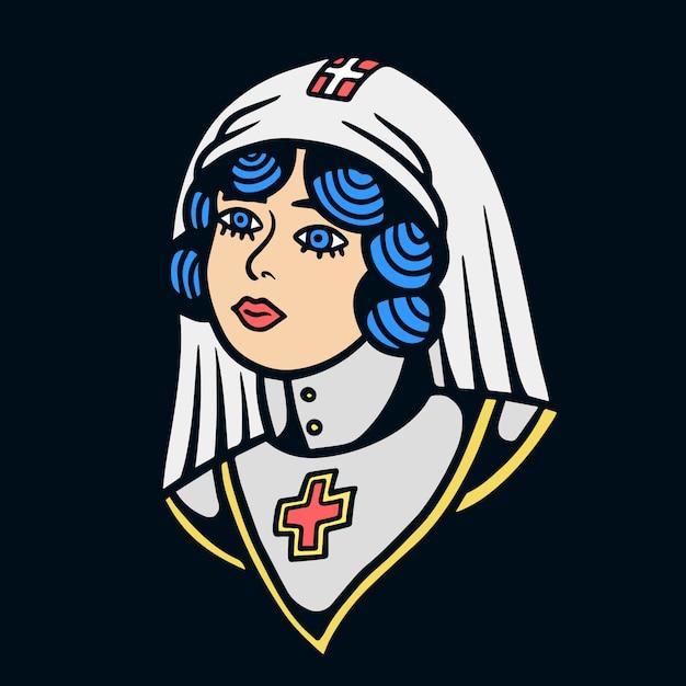 Irmã da igreja velha escola tatuagem ilustração Vetor Premium