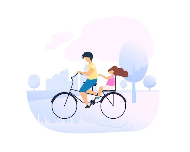 Irmão drives little sister em bicicleta no parque da cidade. Vetor Premium