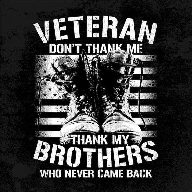 Irmãos veteranos de ilustração com botas e bandeira Vetor Premium