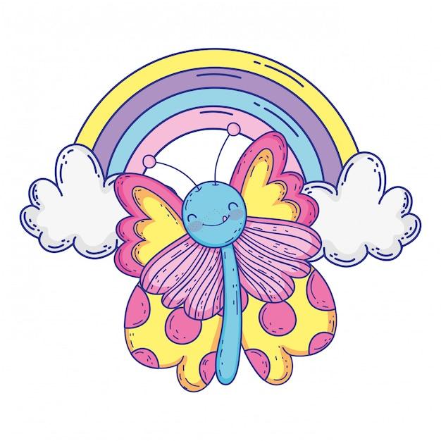 Isolado borboleta desenhar cartoon desenho ilustração em vetor Vetor Premium