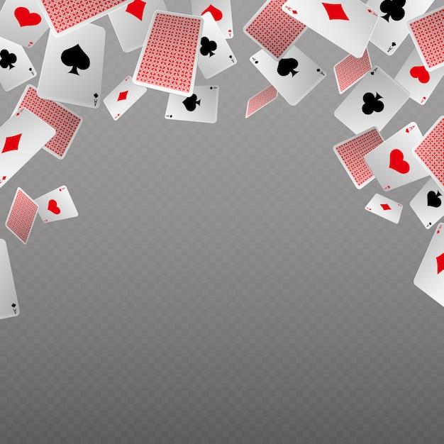 Isolado de cartas caindo do jogo. modelo de vetor para casino e conceito de jogo. cartão de jogo de poker, gamble e oportunidade, ilustração de banner copyspace Vetor Premium
