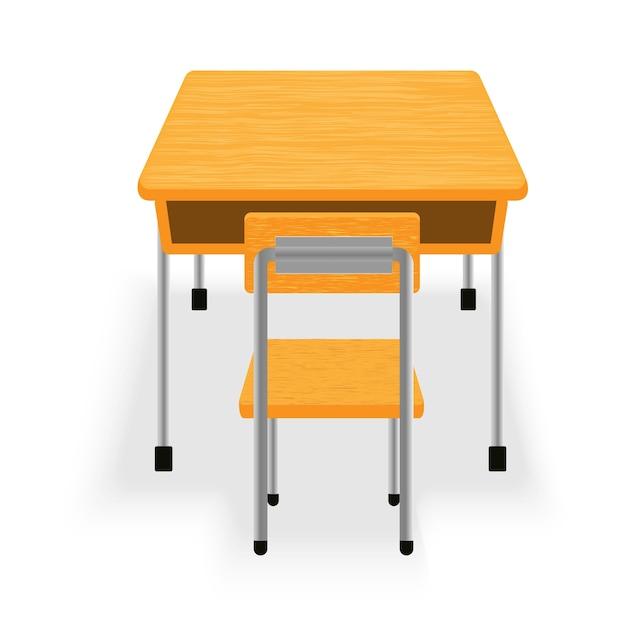 Isolado de mesa e cadeira Vetor Premium