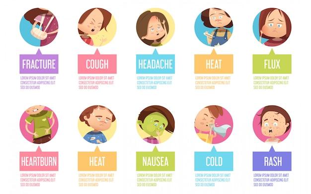 Isolado no ícone de criança de sikness de desenhos animados de círculos definido com fratura tosse cefaléia fluxo de calor azia Vetor grátis
