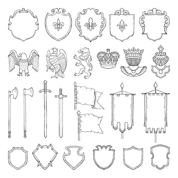 Isolamento heráldico medieval dos símbolos no branco. Vetor Premium