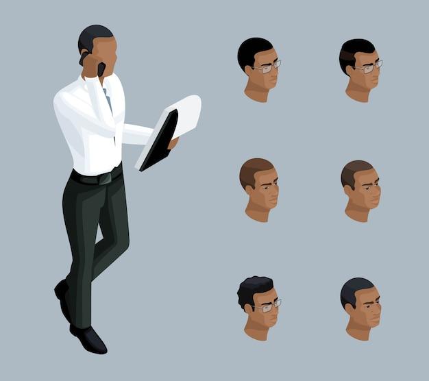 Isometria qualitativa, um empresário fala ao telefone, um homem é afro-americano. personagem, com um conjunto de emoções e penteados para criar ilustrações Vetor Premium