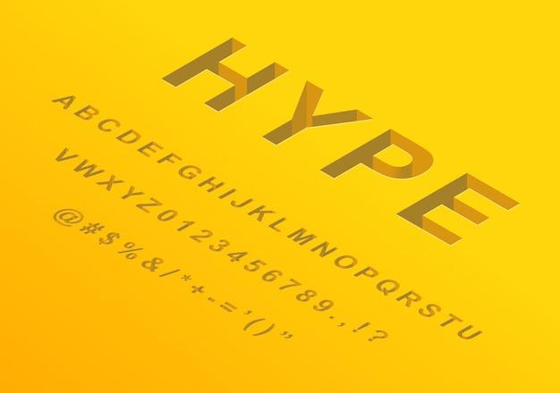 Isometric 3d font design números de letras do alfabeto e símbolos Vetor Premium