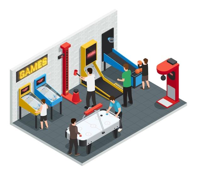 Isometric 3d game club interior colorido conceito pessoas jogam jogos Vetor grátis