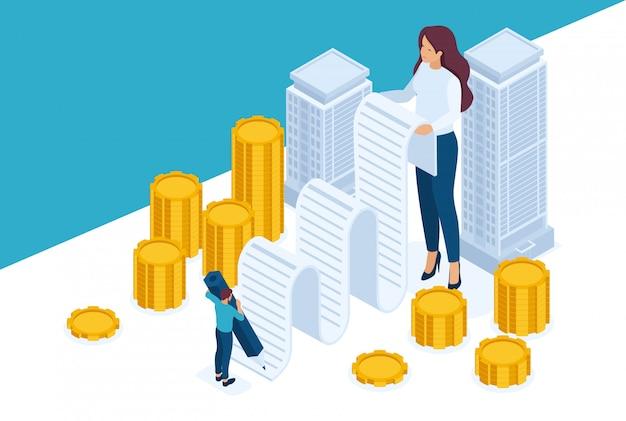 Isometric bright site concept registro e emissão de dinheiro garantido por imóveis, empréstimo hipotecário. conceito de web design Vetor Premium