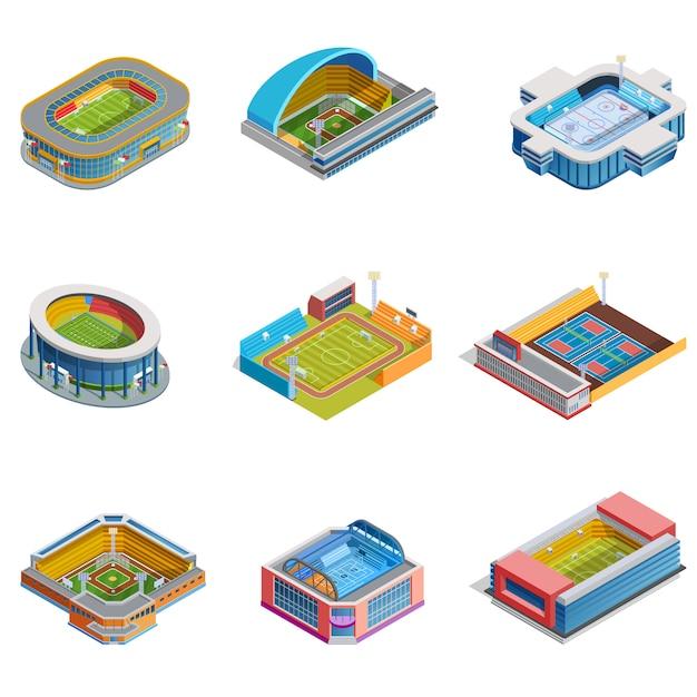 Isometric images stadiums set Vetor grátis