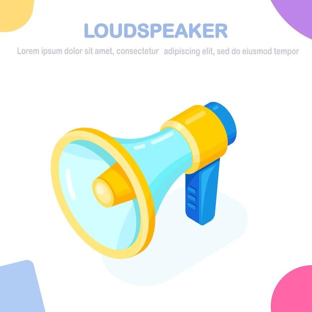Isometric megaphone, loudspeaker marketing digital, conceito de publicidade. Vetor Premium