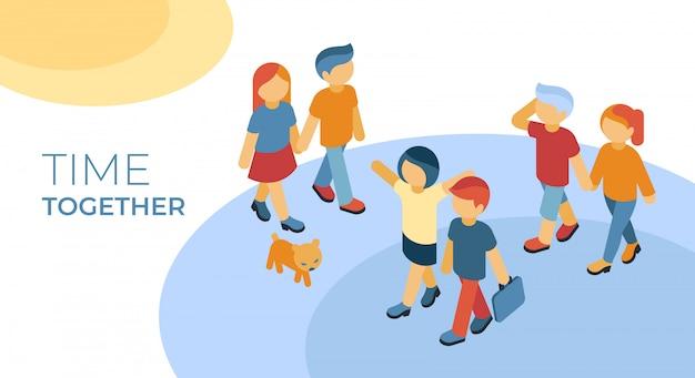 Isométrica amigos tempo juntos andando infográficos Vetor Premium