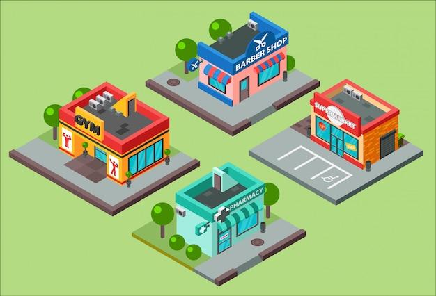 Isométrica cidade edifícios quiosque supermercado loja de conveniência. ilustração de construção isométrica barbearia, farmácia, salão de beleza, academia de ginástica e loja supermercado shopping center negócios urbanos construção isométrica Vetor Premium