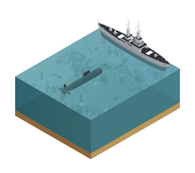 Isométrica composição de barcos militares 3d com pedaço de mar com um submarino e uma ilustração do vetor de barco Vetor grátis