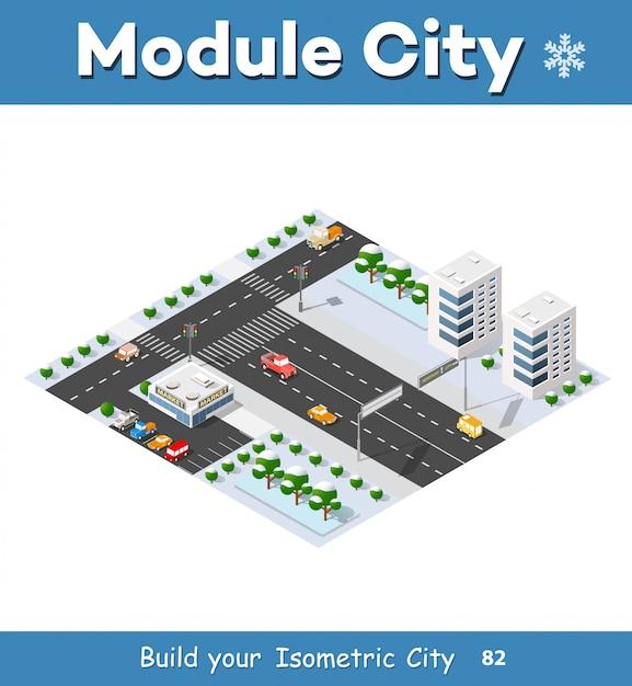 Isométrica da cidade moderna Vetor Premium