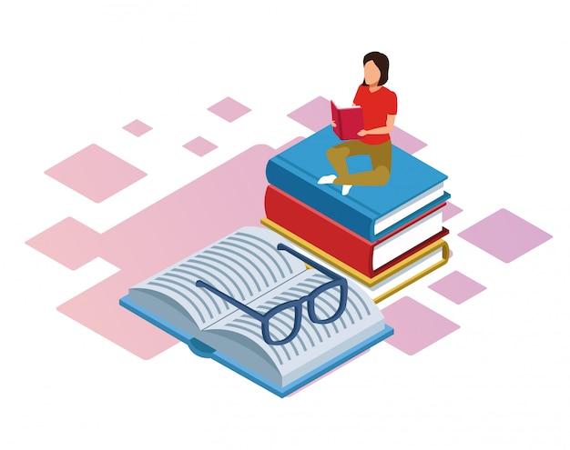 Isométrica da mulher sentada na pilha de livros e livro com óculos sobre fundo branco Vetor Premium