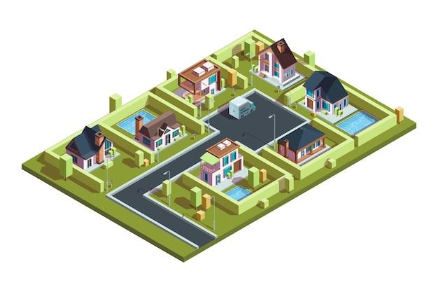 Isométrica da vila da casa de campo. casas residenciais modernas suburbanas em uma pequena cidade com mapa isométrico de vetor de infraestrutura. ilustração 3d isométrica, arquitetura da cidade Vetor Premium