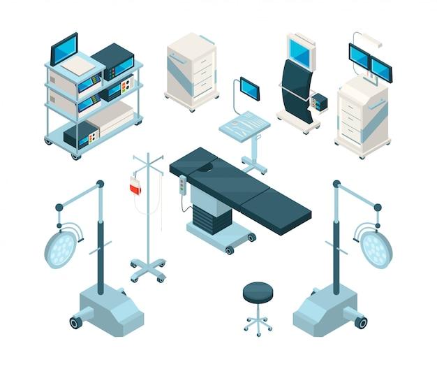 Isométrica de equipamentos médicos na sala de cirurgia Vetor Premium