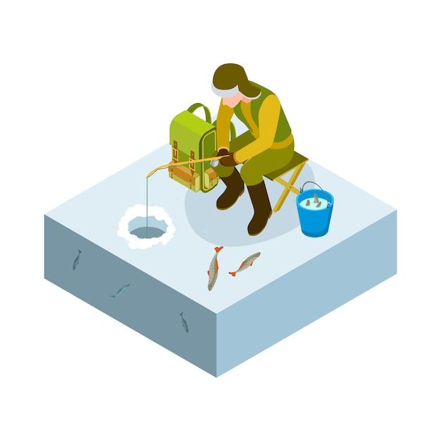 Isométrica de pesca no gelo. homem de vetor na pesca no gelo, balde de peixes. passatempo masculino de inverno. ilustração homem pescando e pescando Vetor Premium