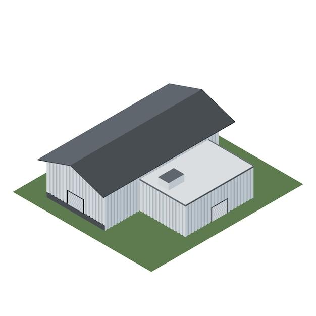 Isométrica de um edifício industrial para a fabricação de produtos Vetor Premium