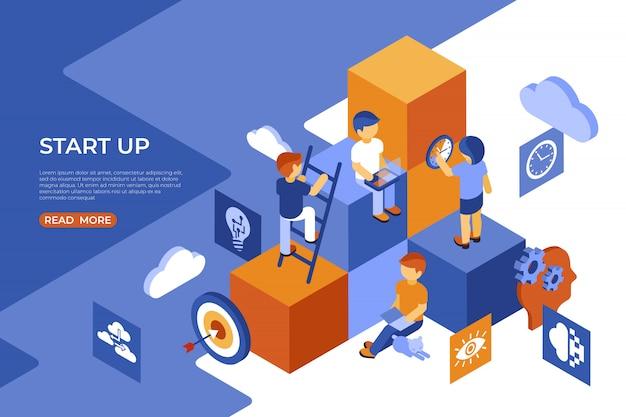 Isométrica iniciar infográficos de negócios de pessoas Vetor Premium