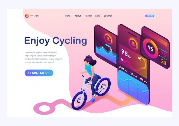 Isométrica jovem de bicicleta, um aplicativo móvel rastreia o treino, o sinal de gps. Vetor Premium