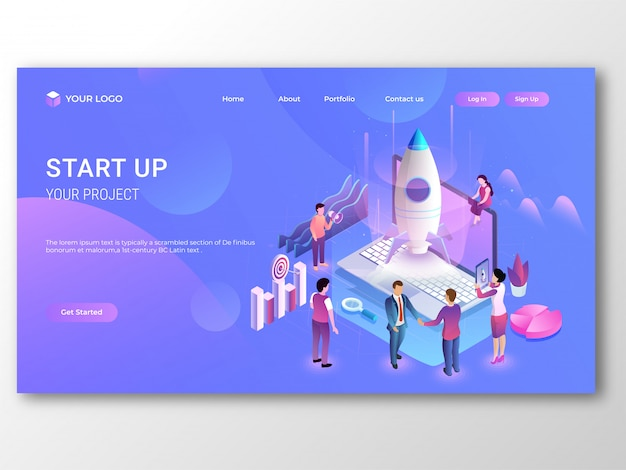Isométrica laptop com foguete para negócios start up conceito. Vetor Premium