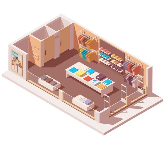 Isométrica loja de roupas interior cutaway Vetor Premium