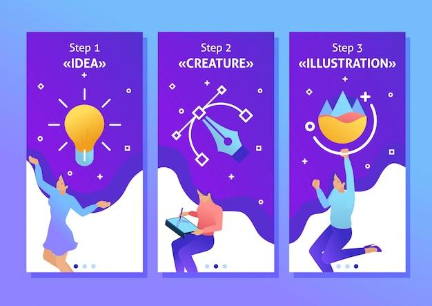 Isométrica modelo app conceito garota er trabalha, desenha, sonha, cria design. ilustrador freelancer, aplicativos de smartphone. fácil de editar e personalizar Vetor Premium