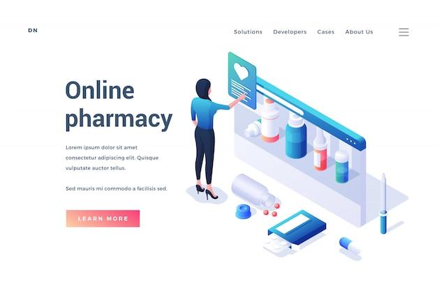 Isométrica mulher escolhendo medicamentos no serviço de farmácia on-line Vetor Premium