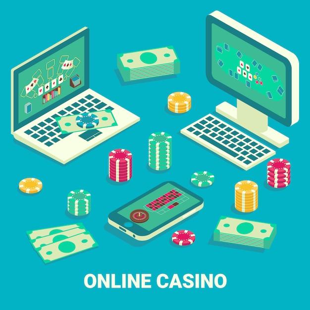 Isométrica plana de casino online Vetor Premium