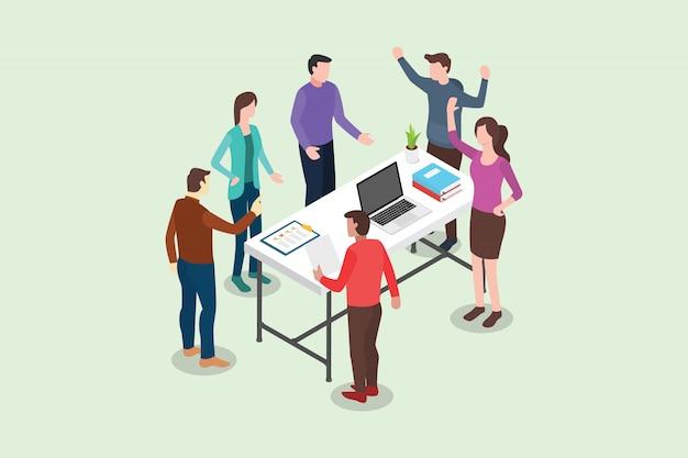 Isométrica standup ou permanente conceito de reunião Vetor Premium