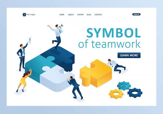Isométricas pessoas conectando elementos de quebra-cabeça. símbolo da página inicial do trabalho em equipe Vetor Premium