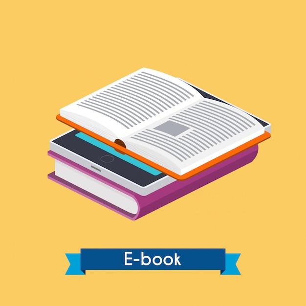 Isométrico e-book reader e livros. Vetor Premium