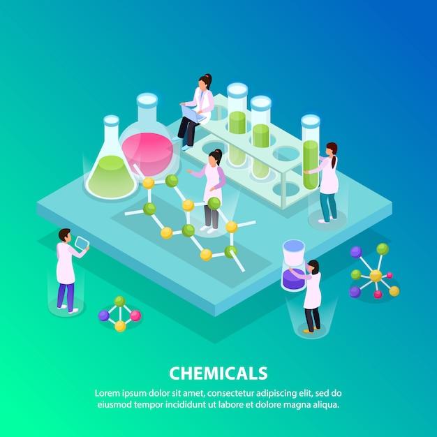 Isométrico e plano de fundo de produtos químicos com cinco pessoas trabalham no laboratório Vetor grátis