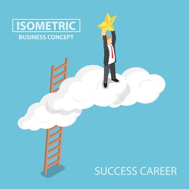 Isométrico empresário subindo sobre a nuvem e alcançando as mãos para a estrela Vetor Premium
