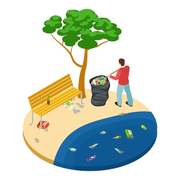 Isométrico homem pega lixo na praia, água, oceano e natureza conceito de poluição Vetor Premium