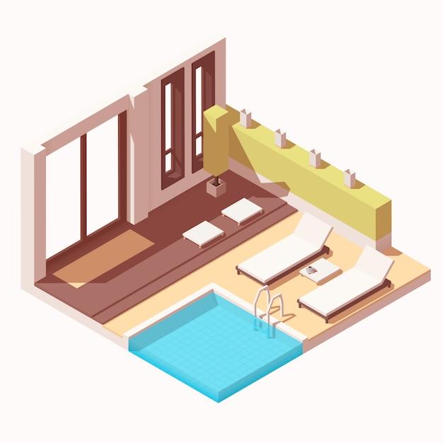 Isométrico hotel resort piscina ao ar livre salão cutaway ícone Vetor Premium