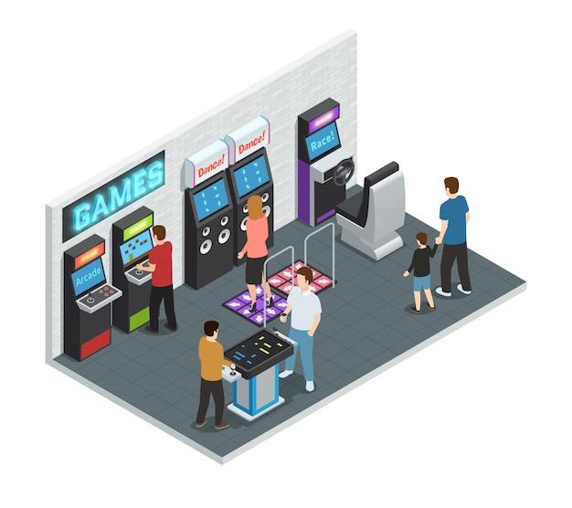 Isométrico isolado e colorido jogo clube interior conceito com pessoas jogando em uma ilustração do vetor de quarto Vetor grátis