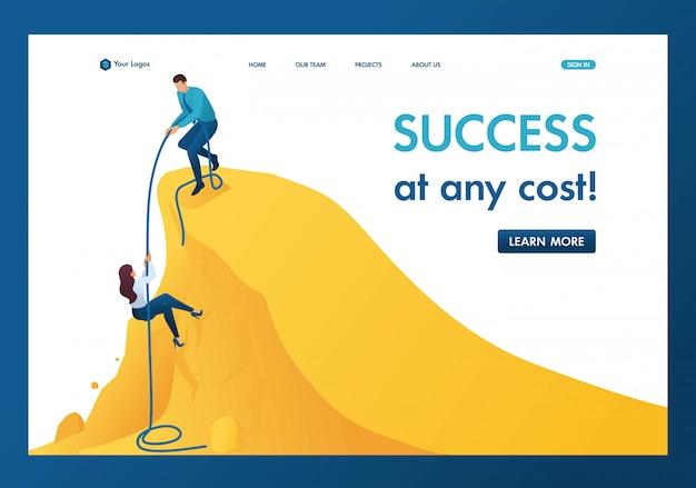 Isométrico, o mentor da ajuda para alcançar o objetivo, suba o caminho para a página de destino de sucesso Vetor Premium
