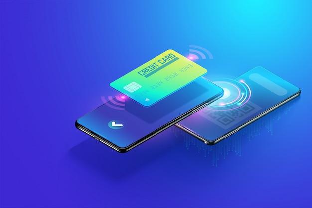 Isométrico pagamento embora smartphone com conceito de código qr de digitalização, recebimento on-line e pagamento on-line. pagamento on-line fácil e mais seguro através da ilustração 3d do vetor do carrinho de crédito. Vetor Premium