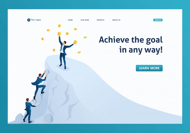 Isométrico para alcançar o sucesso, atingir a meta, estar no topo da página de destino da montanha Vetor Premium