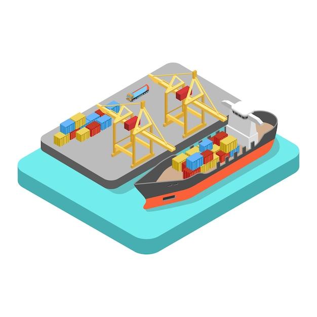 Isométrico plano isométrico transporte de carga frete porto porto conceito de porto Vetor Premium