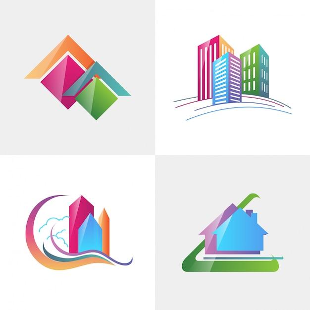 Isotype para imóveis, identidade corporativa de empresa de logotipo Vetor Premium