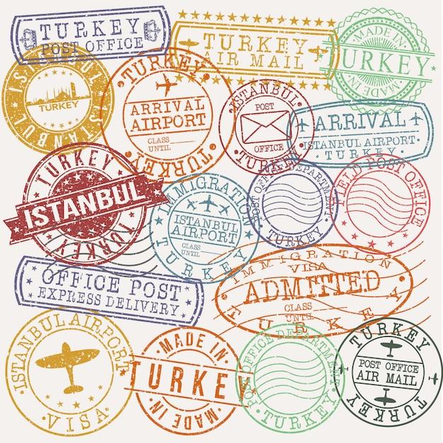 Istambul turquia conjunto de viagens e negócios carimbo desenhos Vetor Premium
