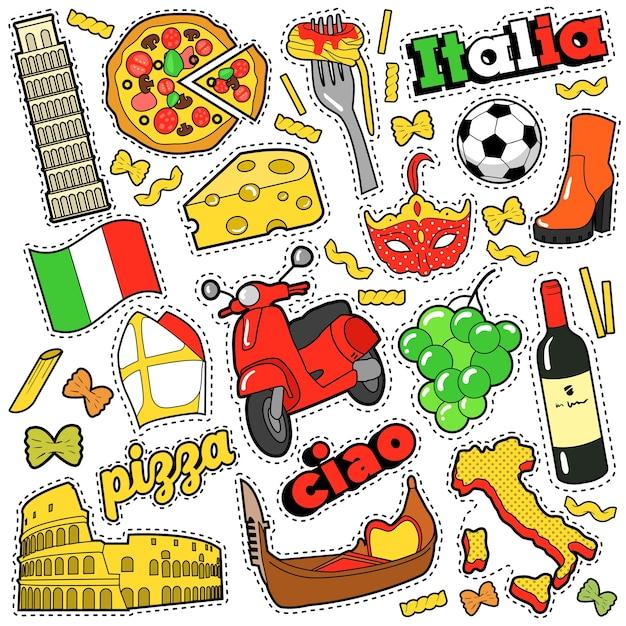 Itália viagens scrapbook adesivos, patches, emblemas para impressões com pizza, máscara veneziana, arquitetura e elementos italianos. doodle de estilo cômico Vetor Premium