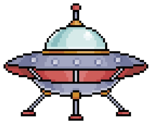 Item de nave espacial alienígena de pixel art para jogo de bits em fundo branco Vetor Premium