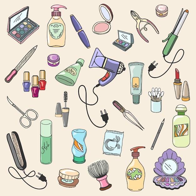 Itens de beleza e cosméticos desenhados à mão para maquiagem de moda e cuidados. mão desenhar ícones de vetor de beleza e cosméticos Vetor grátis