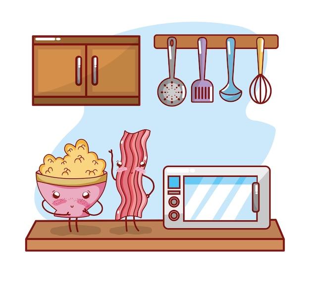 Itens de cozinha dos desenhos animados kawaii dos desenhos animados Vetor Premium